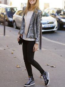 Sequins Blazer Sparkle Party Jacket. One of the most beautiful blazers ever seen! Hot fall season trends with tight black jeans tennis shoes white shirt and sparkle sequins party blazer.