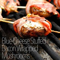 Fire up the grill for these Blue Cheese Stuffed Bacon Wrapped Mushrooms. :fire: Visit the link in our bio for full recipe from @mykitchescapade. :fork_and_knife: