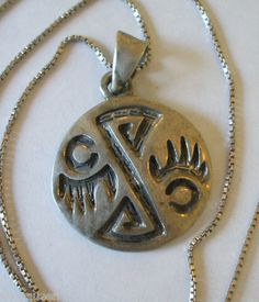 "Vintage Hopi Sterling Silver Overlay Round Pendant with 925 STERLING 18"" Box Chain 