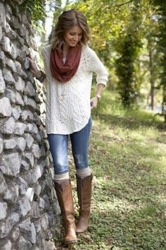 love the big sweater and boots