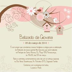 convite-batizado-virtual (2)                                                                                                                                                                                 Mais Baptism Invitations Girl, Maria Clara, Baby Wallpaper, Christening, Alice, Projects To Try, Place Card Holders, Baby Shower, Continue