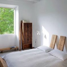 Rustic modern bedroom w/ recycled materials