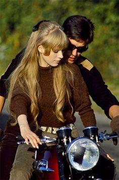 Marianne Faithfull and Alain Delon on set of 'The Girl On A Motorcycle', 1968