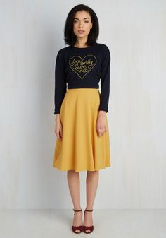 Just This Sway Skirt in Goldenrod / You definitely have that swing when you step out in this rich yellow midi skirt! Part of our ModCloth namesake label, this circle skirt touts a vintage-inspired, high-waisted design, and will surely influence a plethora of dance-worthy ensembles.