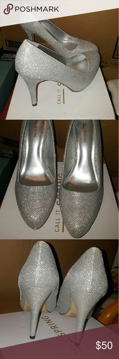 Silver shoes Size 8.5 silver worn once outside walking for a bit after a wedding. Call It Spring Shoes Heels