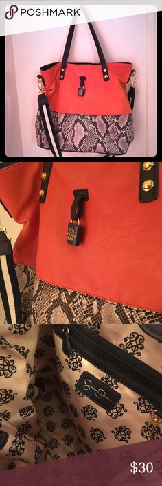Melon Navy Snakeskin Jessica Simpson Large Purse Stand out! Melon orange with navy accents. Gold hardware. Snakeskin bottom. Very clean Jessica Simpson bag, also has a navy and cream shoulder strap! Jessica Simpson Bags Shoulder Bags