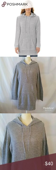 """Hooded Pullover Shaker Stitch Sweater Hooded pullover shaker stitch sweater size - 1X in heathered grey. Gorgeous relaxed fit that allows you to move with ease. 28"""" in length and falls below your hips. Pullover style with ribbed trim and a drawstring hood. Long set-in sleeves and kangaroo pockets! Feminine and very cozy for this season! Woman Within Sweaters"""