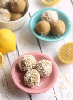 Lemon Coconut No-Bake Bites #paleo #vegan #glutenf 8 Medjool dates, pitted ½ cup unsweetened applesauce Zest and juice of 1 large lemon ½ tsp vanilla extract ½ cup coconut flour 1 scoop (30g) vanilla protein powder (I love Vega Protein + Greens) Pinch of salt 1-2 tbsp almond milk, if needed Unsweetened shredded coconut, for rolling