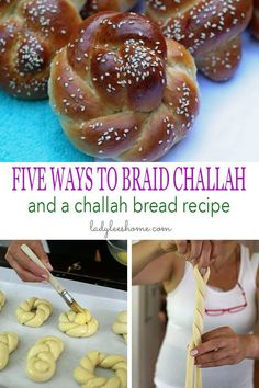 Here are 5 amazing ways to braid challah bread from a professional Israeli baker! All 5 techniques using one or two strands and are beautiful. You'll also find a challah bread recipe in this post. Jewish Bread, German Bread, Challah Rolls, Bread Rolls, Challa Bread, Challah Bread Recipes, Bread Shaping, Braided Bread, Crack Crackers