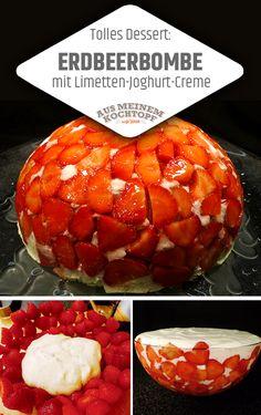 Erdbeerbombe mit Limetten-Joghurt-Creme. Für die Erdbeerbombe muss man Joghurt, Quark, Puderzucker und Vanille gut verrühren. Dazu braucht man Limetten, Sahne, Eiweiß und die Gelatine nicht vergessen. Dazu natürlich Erdbeeren. #Erdbeerbombe