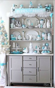 The Scoop - Cedar Hill Farmhouse Turquoise Christmas Decorations dress up this Hutch of white dishes into something spectacular! Coastal Christmas, Modern Christmas, Christmas Home, White Christmas, Christmas Holidays, Christmas Trees, Scandinavian Christmas, Christmas Mantles, Christmas Island