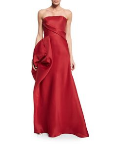 Strapless+Hand-Draped+Gown,+Scarlet+by+Rubin+Singer+at+Neiman+Marcus.