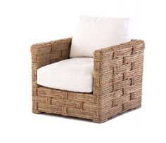 This modern classic chair is made from natural hand weaved rope. The seat and back cushion is filled with the highest quality blend of down and feathers. Outdoor Fabric, Outdoor Chairs, Outdoor Furniture, Outdoor Lounge, Nomadic Furniture, Art Design, Interior Design, Woven Chair, Beach Chairs