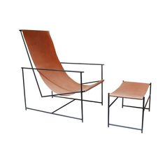 Reduced to the essentials, the Anderson Sling Chair and Ottoman are the essence of pur- ist design. A collaboration between Slowood Studios and Hawkins New York, this collec- tion is as functional as the form, as evidenced in its comfort. Steel Furniture, Living Room Furniture, Modern Furniture, Furniture Design, Outdoor Furniture, Furniture Chairs, Handmade Furniture, Metal Chairs, Take A Seat