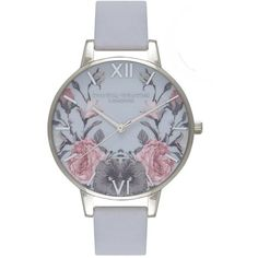Olivia Burton Enchanted Garden Watch - Chalk Blue & Silver ($105) ❤ liked on Polyvore featuring jewelry, watches, etched jewelry, olivia burton watches, blue strap watches, silver wrist watch and blue jewelry