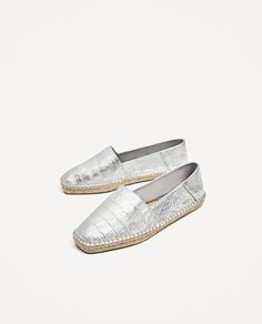 Image 4 of SILVER-TONED LEATHER ESPADRILLES from Zara