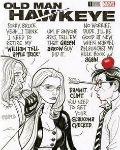Old Man Hawkeye and Mockingbird sketch cover by Frank Cho