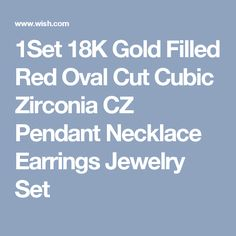 1Set 18K Gold Filled Red Oval Cut Cubic Zirconia CZ Pendant Necklace Earrings Jewelry Set