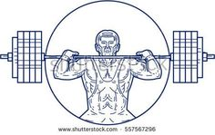 Mono line style illustration of a strongman lifting heavy weight barbell set inside circle viewed from front.  #weightlifter #monoline #illustration