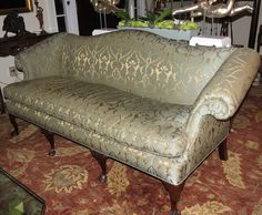 Antique Chippendale Camelback Sofa w Green & Beige Silk Damask