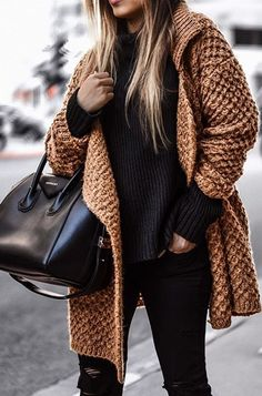 brown knitted coat