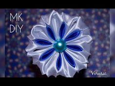 Снежинка канзаши из атласной ленты/ Двухцветный лепесток/ Snowflake kanzashi satin ribbon DIY - YouTube