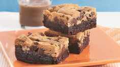 """Brookies, where cookie dough is baked on top of brownie batter - omit the praline layer - Josh's bday """"cake"""""""