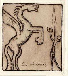 ∴ Ðrÿad ∴ - Ex Libris by Michl Fingesten (source) Ex Libris, Latin Phrases, Year Of The Horse, Handmade Books, Old Books, Horse Art, Book Art, Artist, Illustrations
