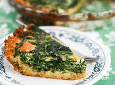 Spinach Asparagus Smoked Salmon Quiche with a Crumb Crust #quiche #lox #smokedsalmon