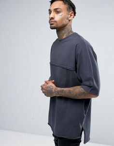ASOS Super Oversized T-Shirt With Batwing Sleeve And Raw Edges