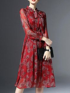 Knee-Length Nine Points Sleeve Women's Mesh Dress