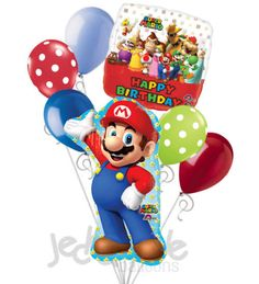 "Included in this bouquet: 7 Balloons Total 1 – 33"" ""Super Mario"" Mario Shape Balloon 1 – 18"" ""Super Mario ... Happy Birthday"" Square Balloon 5 - 12"" Mixed Latex Balloons (Light Blue, White Polka Dots"