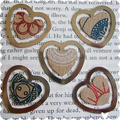 Cute little book hearts, understated valentines day gift :)