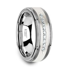HARPER Tungsten Wedding Band with Raised Center & Brushed Silver Inlay and 9 White Diamonds - 8mm OMAR MADDISON