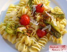 pasta crème de courgette safran fleur de courgette
