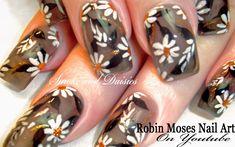 Spring Daisies with Gold Glitter Gray Nails #nails #nail #art #springnails #daisynails #goldglitter #graypolish #greypolish #smokepolish #elegantnails #DIYeasynailart