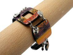 Bracelet violet jaune et orange avec filigranes noirs // bracelet de créateur // création française. de la boutique Chezpajope sur Etsy Orange, Violet, Creations, Boutique, Etsy, Bracelets, Leather, Jewelry, Fashion