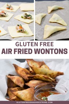 Gluten Free Air-Fryer Fried Wontons - These gluten free air-fried wontons are sure to be a hit at your next party, game day or potluck. Wonton Recipes, Gf Recipes, Dinner Recipes, Cooking Recipes, Healthy Recipes, Cooking Food, Cooking Tips, Free Recipes, Food Food