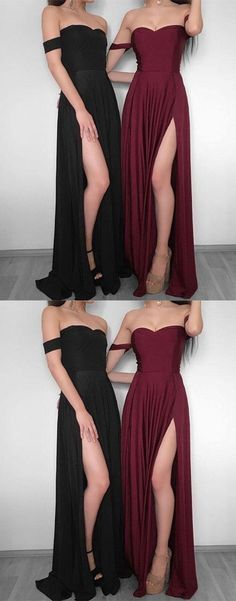 Simple chiffon long prom dress, burgundy evening dress P1417 #promdresses #longpromdress #2018promdresses #fashionpromdresses #charmingpromdresses #2018newstyles #fashions #styles #hiprom #offtheshoulder