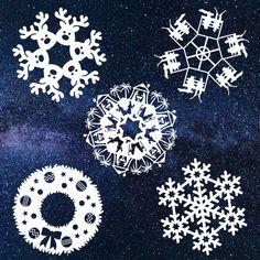 Star Wars Snowflakes, Christmas Snowflakes, Christmas Paper, Paper Snowflakes, Origami Paper Art, Diy Paper, Paper Crafts, Snowflake Template, Snowflake Pattern
