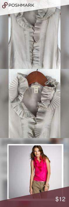 J. Crew Silk Sleeveless Top 100% silk • beautiful sophisticated double-ruffle micro-pleated collar •statement piece! J. Crew Tops