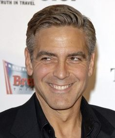 george clooney curly hairstyle side swept