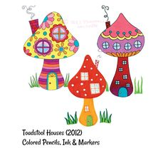 "Colorful Toadstool Mushroom Houses by Thaneeya McArdle ~ One of the easy step-by-step drawing lessons in Thaneeya's upcoming book ""Draw Groovy"", to be published by F+W Media (Step Drawing Awesome) Mushroom Paint, Mushroom Drawing, Mushroom House, Pottery Painting, Diy Painting, Drawing Lessons, Art Lessons, Free Coloring Pages, Coloring Books"