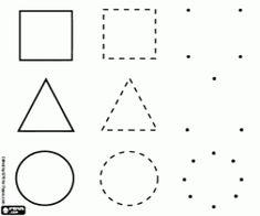 Colorear Aprender a dibujar las tres formas geométricas básicas: cuadrado, triángulo y círculo
