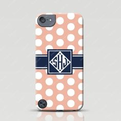 Monogrammed iPod Touch 5g Case - Polka Dots in Light Salmon - Froolu