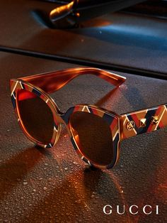 A chevron pattern details new Gucci Spring Summer 2017 sunglasses by Alessandro Michele. - Sale! Up to 75% OFF! Shop at Stylizio for women's and men's designer handbags, luxury sunglasses, watches, jewelry, purses, wallets, clothes, underwear & more!