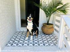 Backyard Stencils: Cheapest DIY Renovation Ideas with Floor Stencils – Royal Design Studio Stencils Painted Concrete Porch, Painted Rug, Painting Concrete, Stained Concrete, Painted Floors, Stencil Painting, Paint Stencils, Floor Painting, Porch Paint
