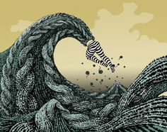 Yuko Shimizu, The Big Wave, 2003, pen, brush and ink and digital