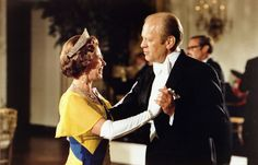 Gerald Ford, 38th President of the United States, dancing with Queen Elizabeth II at the ball at the White House, Washington D.C., during the 1976 Bicentennial Celebrations.