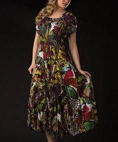 Take a look at this Brown Floral Short-Sleeve Maxi Dress by Vasna on #zulily today!